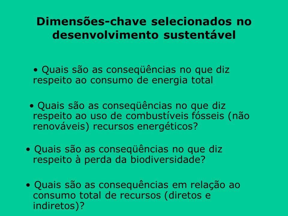 Dimensões-chave selecionados no desenvolvimento sustentável Quais são as conseqüências no que diz respeito ao consumo de energia total Quais são as conseqüências no que diz respeito ao uso de combustíveis fósseis (não renováveis) recursos energéticos.