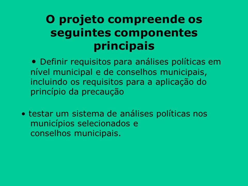 O projeto compreende os seguintes componentes principais Definir requisitos para análises políticas em nível municipal e de conselhos municipais, incluindo os requisitos para a aplicação do princípio da precaução testar um sistema de análises políticas nos municípios selecionados e conselhos municipais.