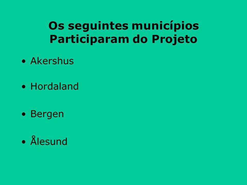 Os seguintes municípios Participaram do Projeto Akershus Hordaland Bergen Ålesund