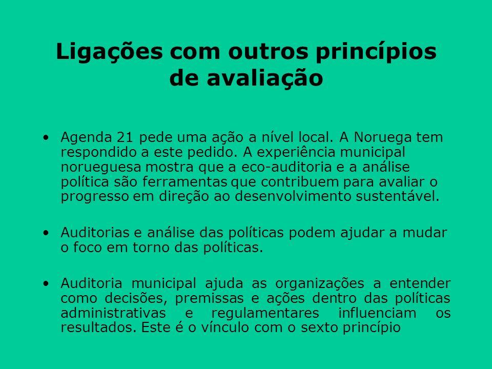 Ligações com outros princípios de avaliação Agenda 21 pede uma ação a nível local.