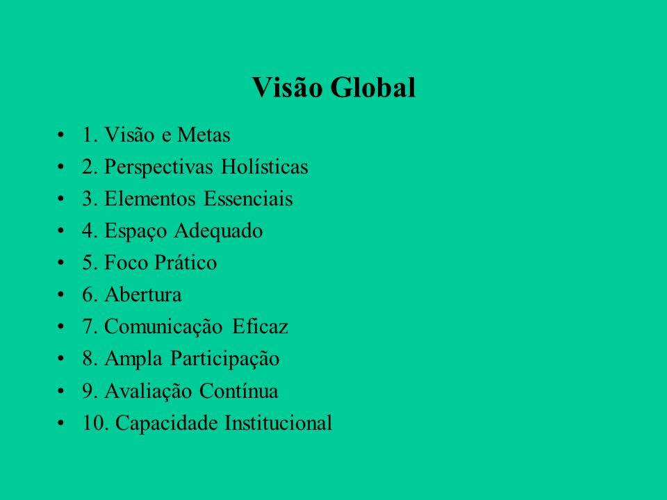 Visão Global 1.Visão e Metas 2. Perspectivas Holísticas 3.