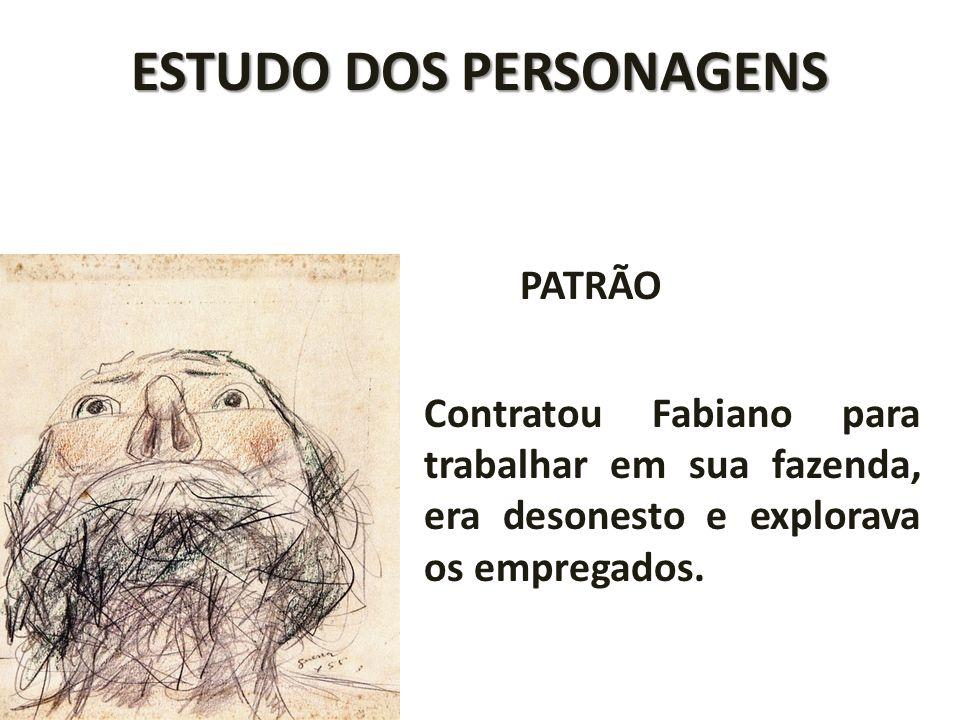 ESTUDO DOS PERSONAGENS PATRÃO Contratou Fabiano para trabalhar em sua fazenda, era desonesto e explorava os empregados.
