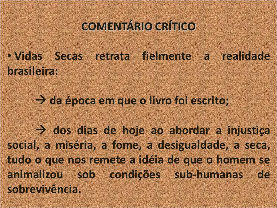 COMENTÁRIO CRÍTICO Vidas Secas retrata fielmente a realidade brasileira: da época em que o livro foi escrito; dos dias de hoje ao abordar a injustiça