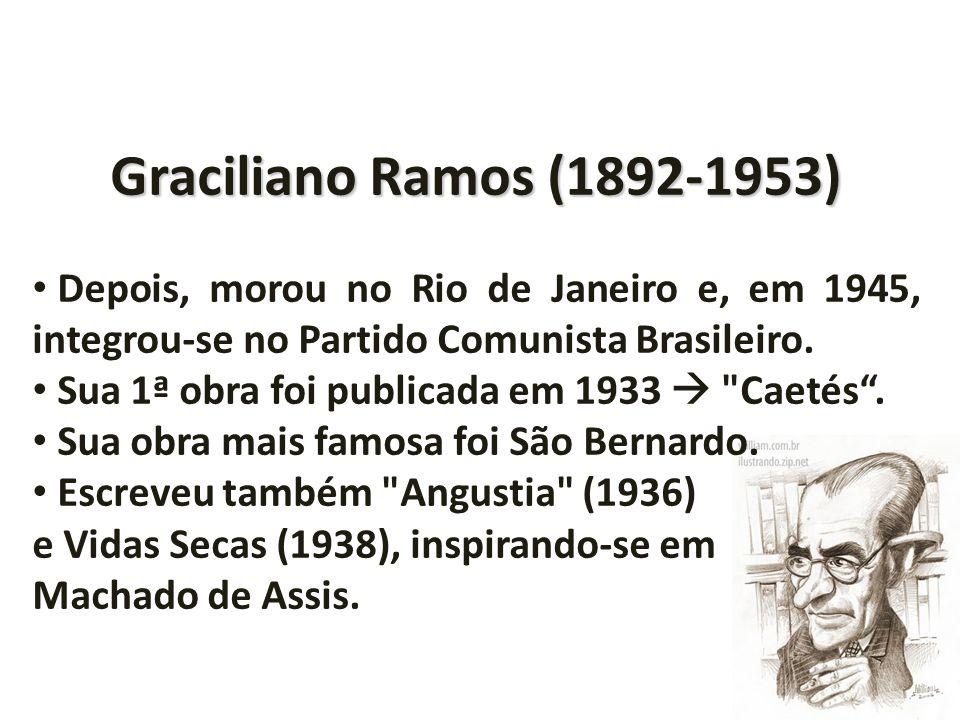 Graciliano Ramos (1892-1953) Depois, morou no Rio de Janeiro e, em 1945, integrou-se no Partido Comunista Brasileiro. Sua 1ª obra foi publicada em 193