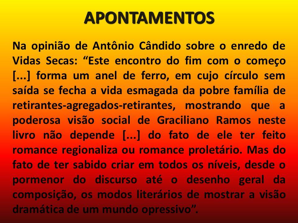 APONTAMENTOS Na opinião de Antônio Cândido sobre o enredo de Vidas Secas: Este encontro do fim com o começo [...] forma um anel de ferro, em cujo círc