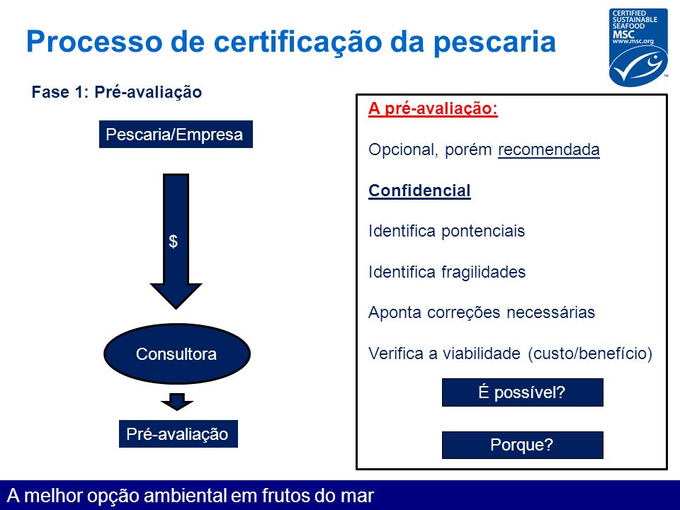 Processo de certificação da pescaria A melhor opção ambiental em frutos do mar Fase 1: Pré-avaliação A pré-avaliação: Opcional, porém recomendada Conf