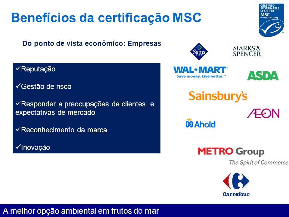 Benefícios da certificação MSC A melhor opção ambiental em frutos do mar Do ponto de vista econômico: Empresas Reputação Gestão de risco Responder a p