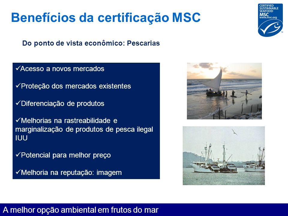 Benefícios da certificação MSC A melhor opção ambiental em frutos do mar Do ponto de vista econômico: Pescarias Acesso a novos mercados Proteção dos m