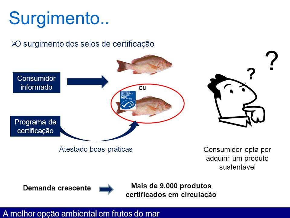 Surgimento.. A melhor opção ambiental em frutos do mar O surgimento dos selos de certificação Consumidor informado ou ? Programa de certificação Atest