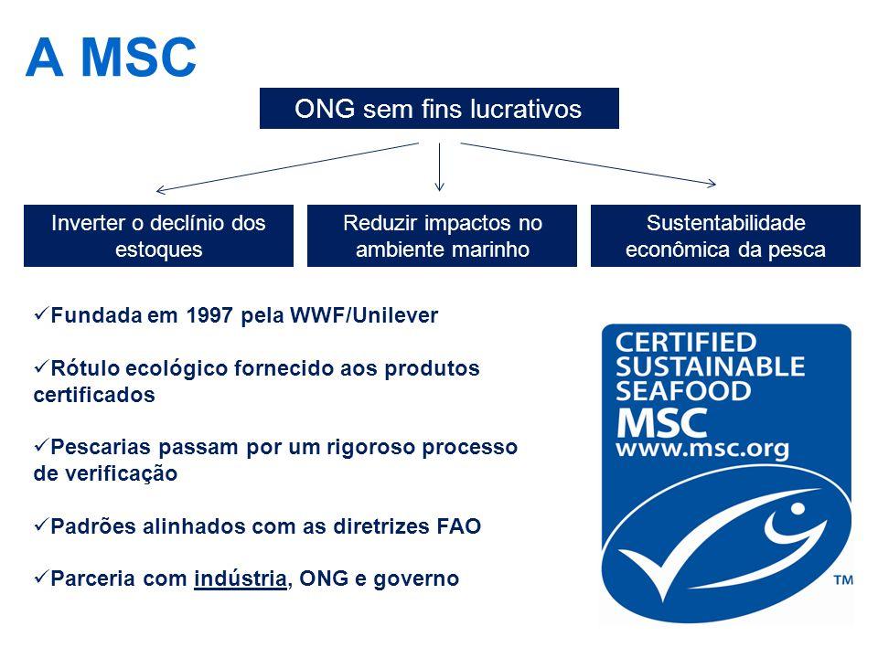 A MSC ONG sem fins lucrativos Inverter o declínio dos estoques Reduzir impactos no ambiente marinho Sustentabilidade econômica da pesca Fundada em 199