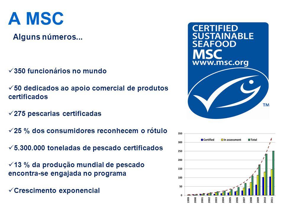 A MSC 350 funcionários no mundo 50 dedicados ao apoio comercial de produtos certificados 275 pescarias certificadas 25 % dos consumidores reconhecem o