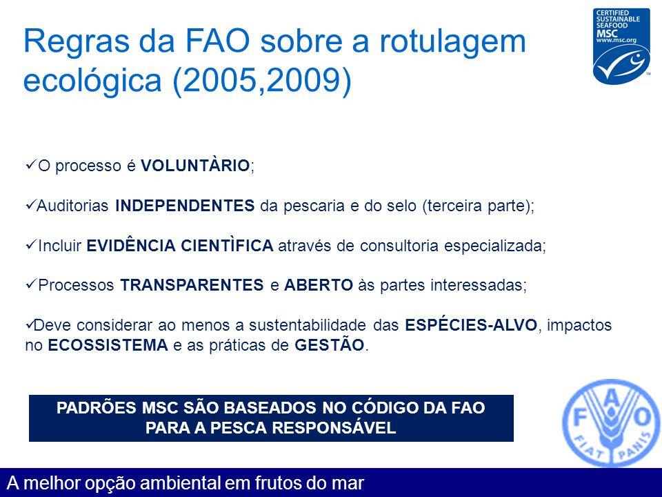 Regras da FAO sobre a rotulagem ecológica (2005,2009) A melhor opção ambiental em frutos do mar O processo é VOLUNTÀRIO; Auditorias INDEPENDENTES da p