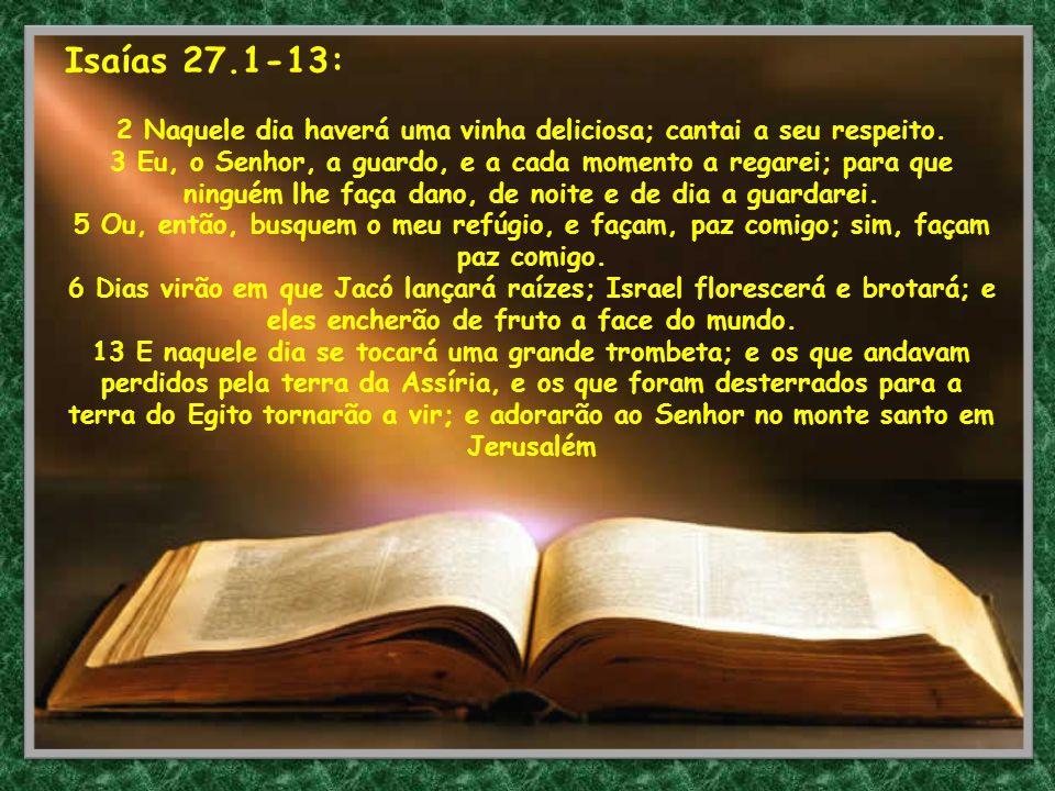 Isaías 27.1-13: 2 Naquele dia haverá uma vinha deliciosa; cantai a seu respeito. 3 Eu, o Senhor, a guardo, e a cada momento a regarei; para que ningué