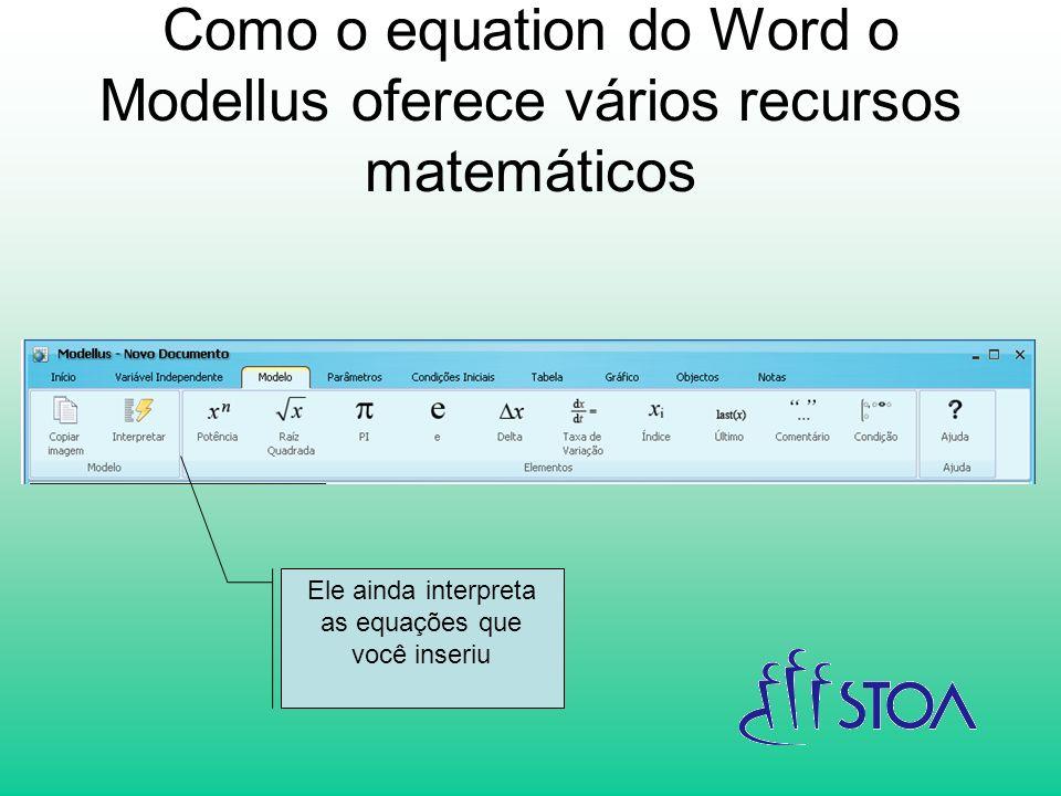 Como o equation do Word o Modellus oferece vários recursos matemáticos Ele ainda interpreta as equações que você inseriu