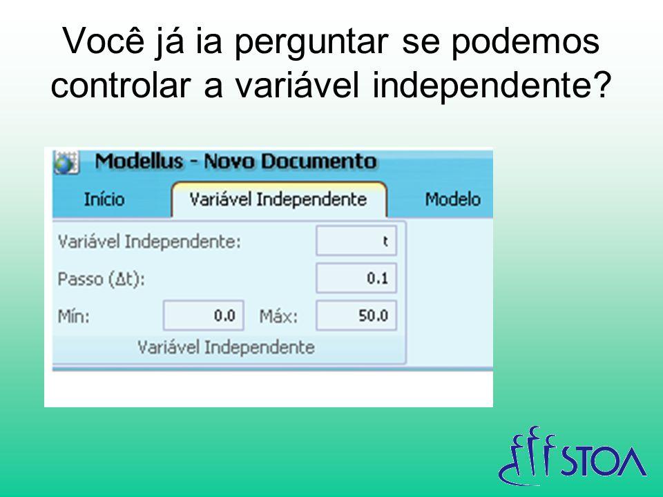 Você já ia perguntar se podemos controlar a variável independente?