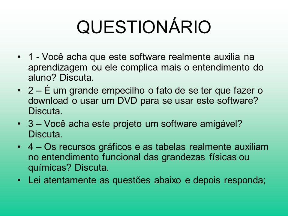 QUESTIONÁRIO 1 - Você acha que este software realmente auxilia na aprendizagem ou ele complica mais o entendimento do aluno? Discuta. 2 – É um grande