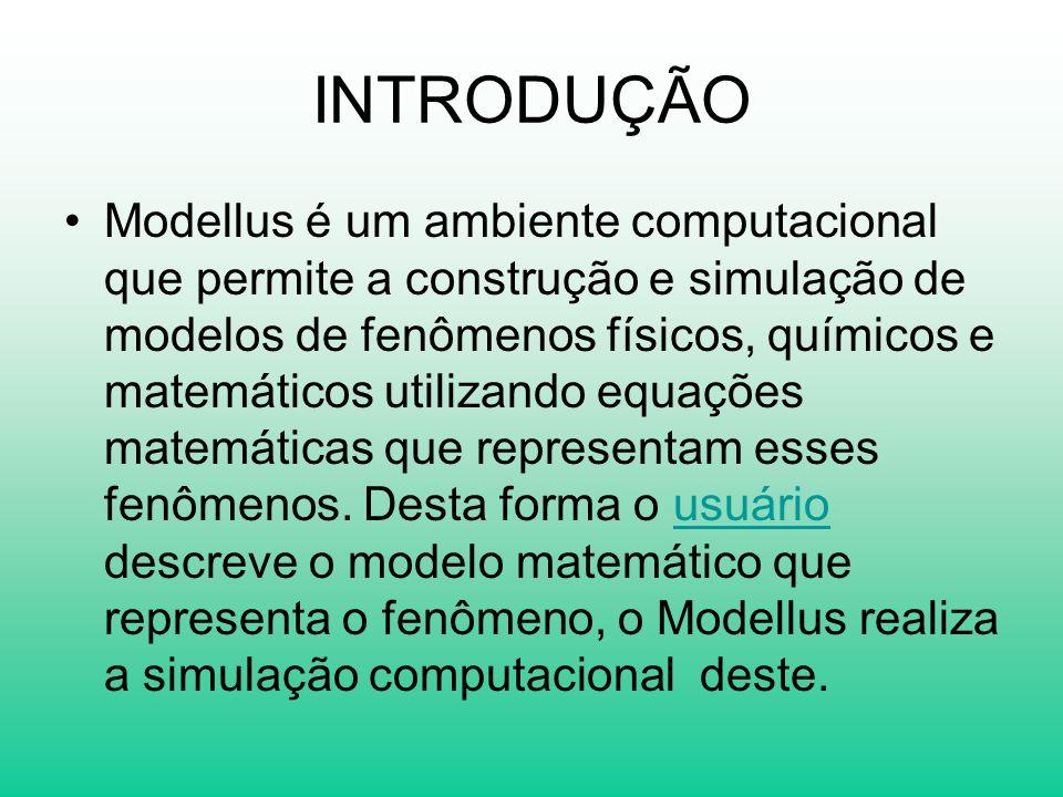 INTRODUÇÃO Modellus é um ambiente computacional que permite a construção e simulação de modelos de fenômenos físicos, químicos e matemáticos utilizand