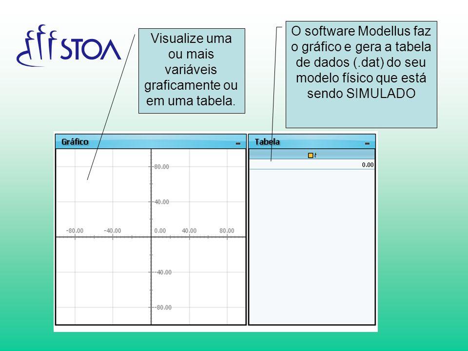 Visualize uma ou mais variáveis graficamente ou em uma tabela. O software Modellus faz o gráfico e gera a tabela de dados (.dat) do seu modelo físico