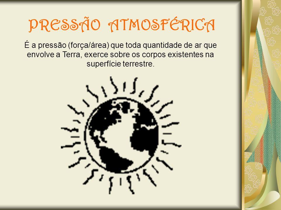 PRESSÃO ATMOSFÉRICA É a pressão (força/área) que toda quantidade de ar que envolve a Terra, exerce sobre os corpos existentes na superfície terrestre.