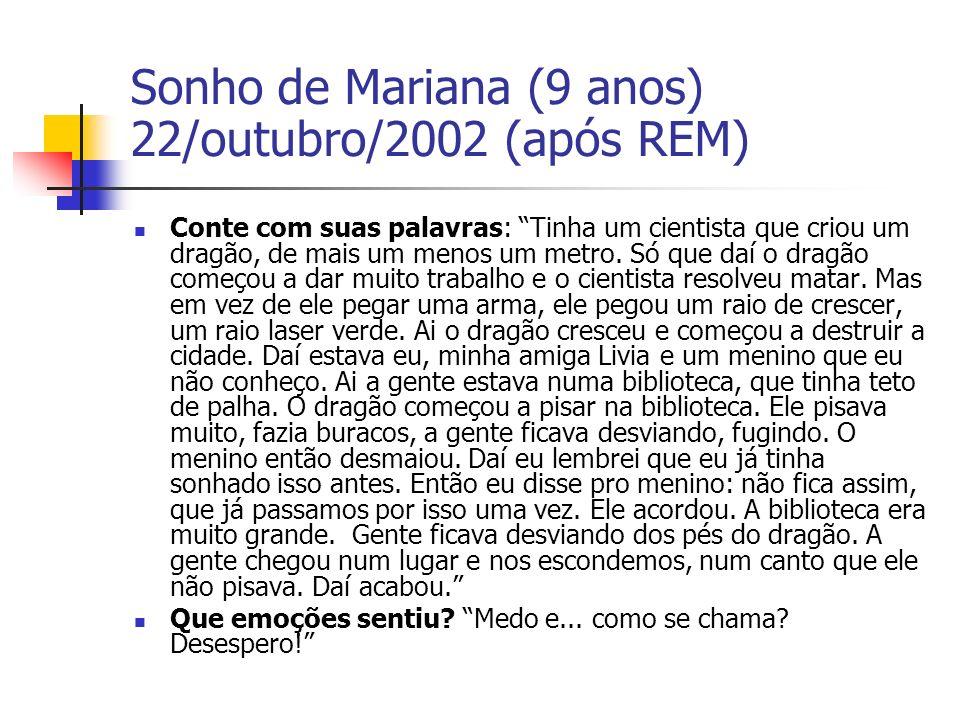 Sonho de Mariana (9 anos) 22/outubro/2002 (após REM) Conte com suas palavras: Tinha um cientista que criou um dragão, de mais um menos um metro.