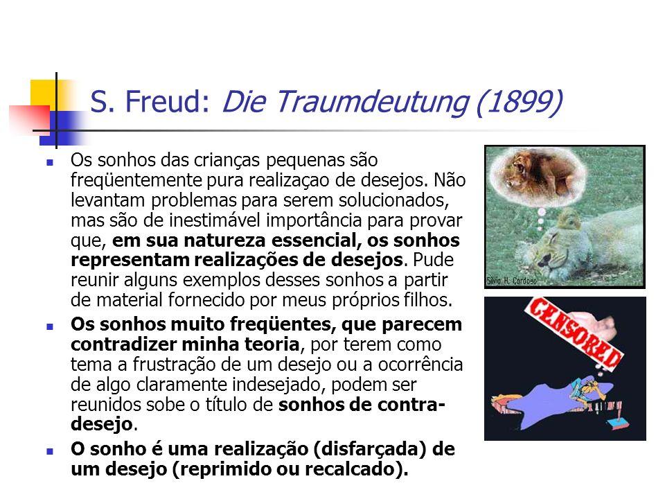 S. Freud: Die Traumdeutung (1899) Os sonhos das crianças pequenas são freqüentemente pura realizaçao de desejos. Não levantam problemas para serem sol