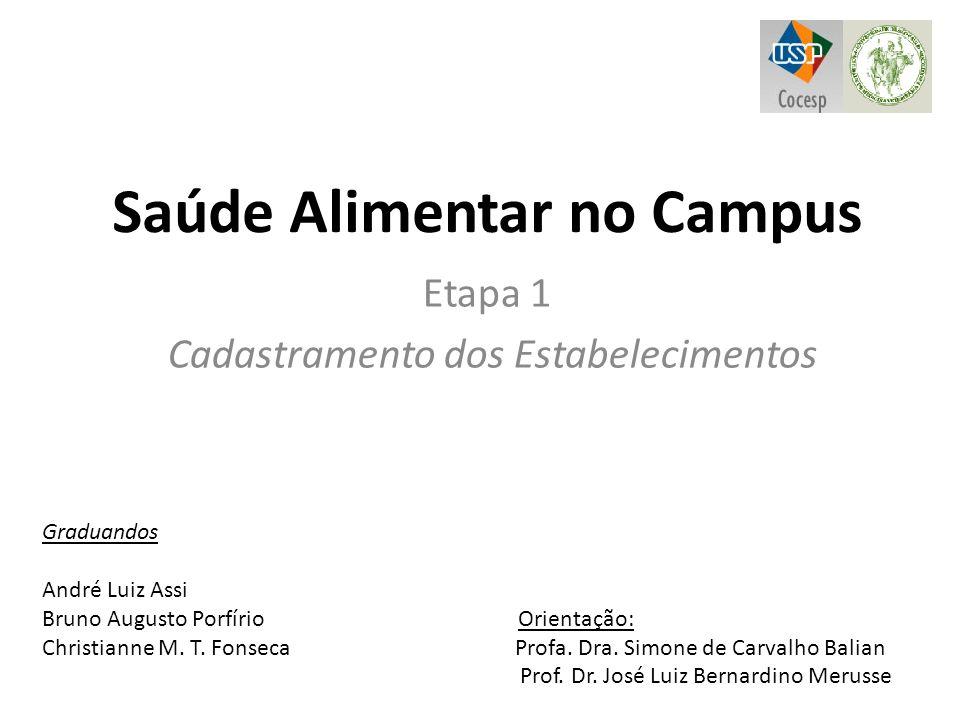Saúde Alimentar no Campus Etapa 1 Cadastramento dos Estabelecimentos Graduandos André Luiz Assi Bruno Augusto Porfírio Orientação: Christianne M. T. F