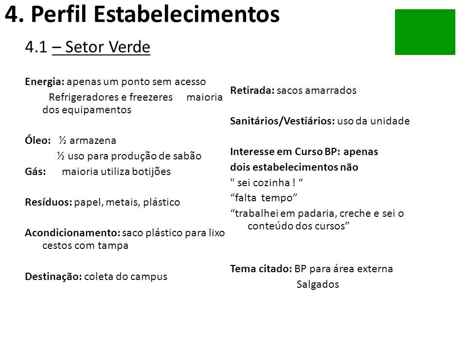4.1 – Setor Verde Energia: apenas um ponto sem acesso Refrigeradores e freezeres maioria dos equipamentos Óleo: ½ armazena ½ uso para produção de sabã