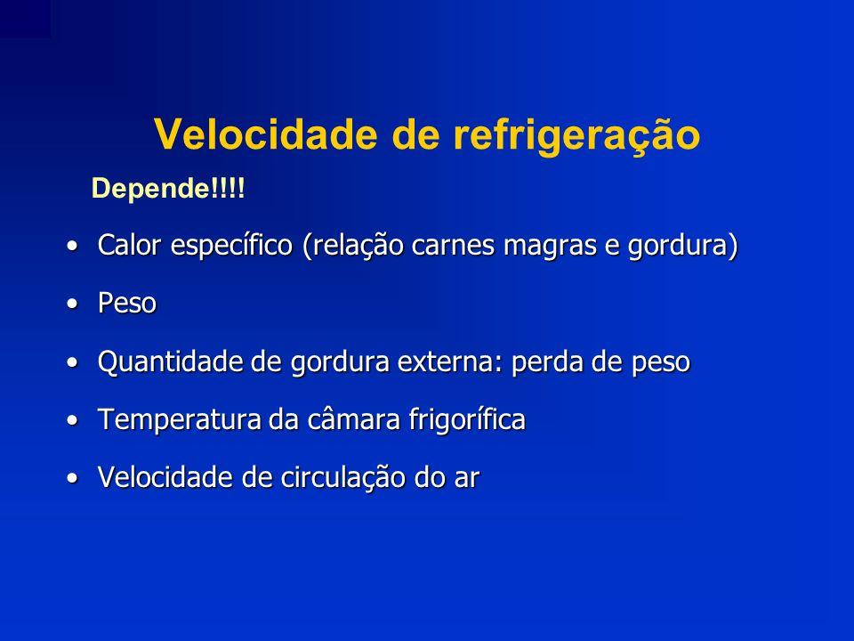 Velocidade de refrigeração Calor específico (relação carnes magras e gordura)Calor específico (relação carnes magras e gordura) PesoPeso Quantidade de