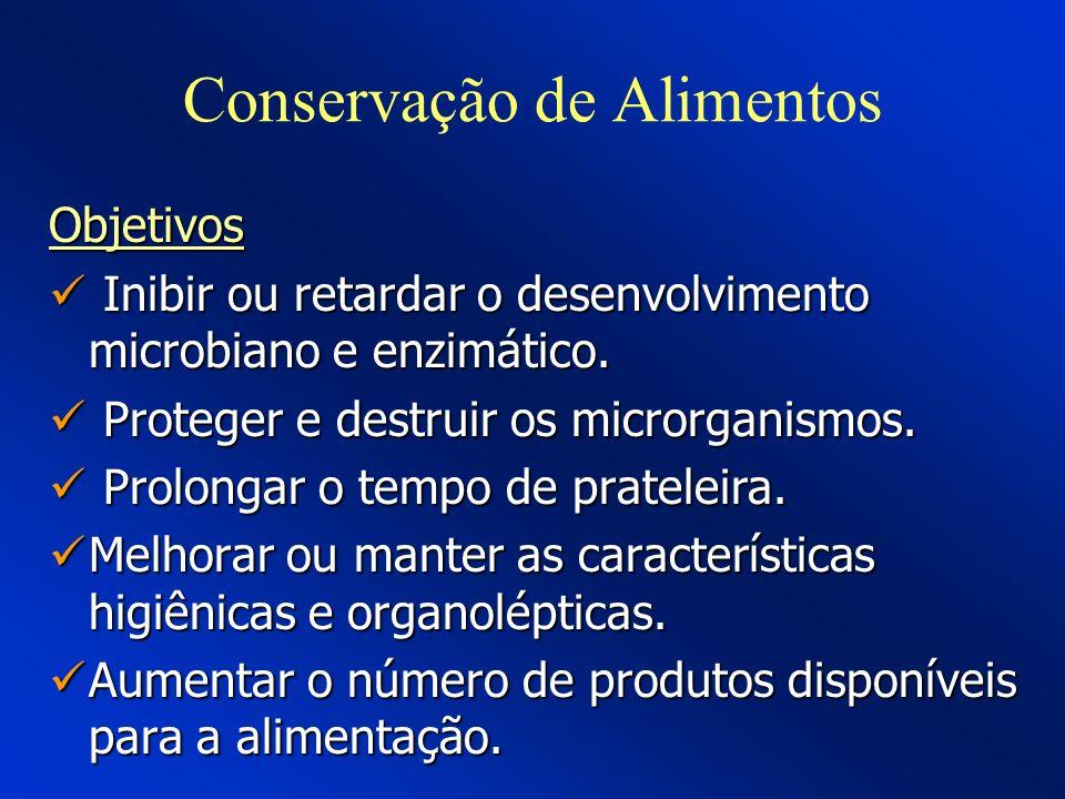 Conservação de Alimentos Objetivos Inibir ou retardar o desenvolvimento microbiano e enzimático. Inibir ou retardar o desenvolvimento microbiano e enz