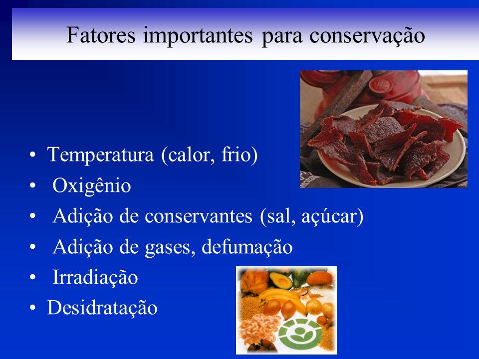 Fatores importantes para conservação Temperatura (calor, frio) Oxigênio Adição de conservantes (sal, açúcar) Adição de gases, defumação Irradiação Des