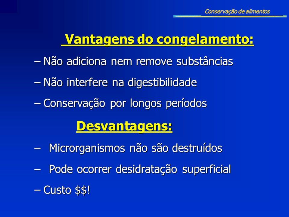 Vantagens do congelamento: Vantagens do congelamento: –Não adiciona nem remove substâncias –Não interfere na digestibilidade –Conservação por longos p