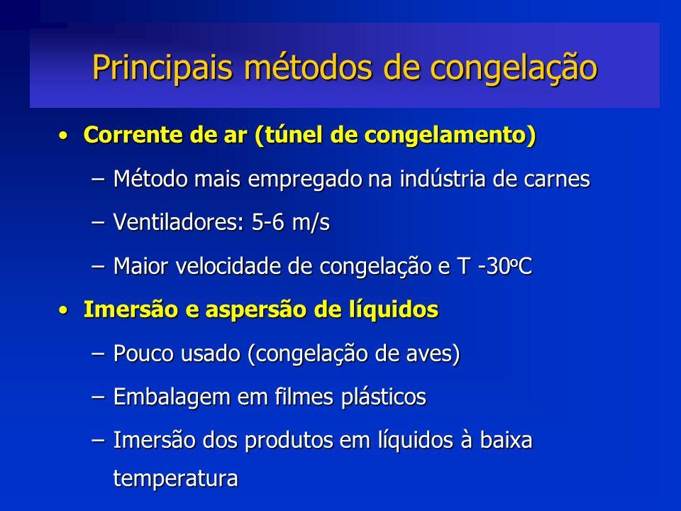 Corrente de ar (túnel de congelamento)Corrente de ar (túnel de congelamento) –Método mais empregado na indústria de carnes –Ventiladores: 5-6 m/s –Mai