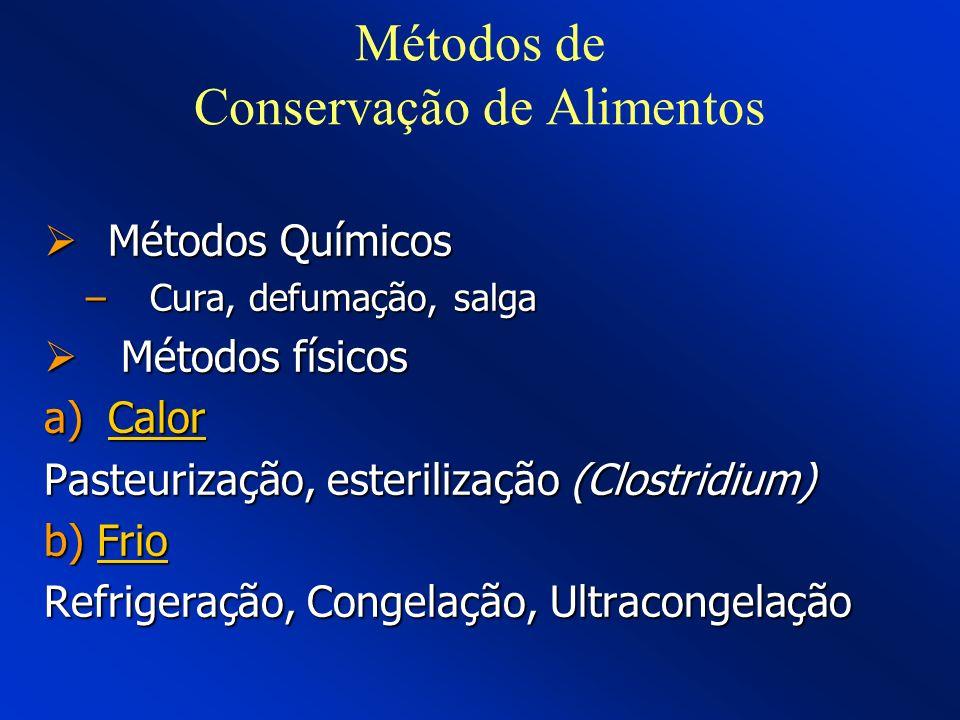 Métodos de Conservação de Alimentos Métodos Químicos Métodos Químicos –Cura, defumação, salga Métodos físicos Métodos físicos a)Calor Pasteurização, e
