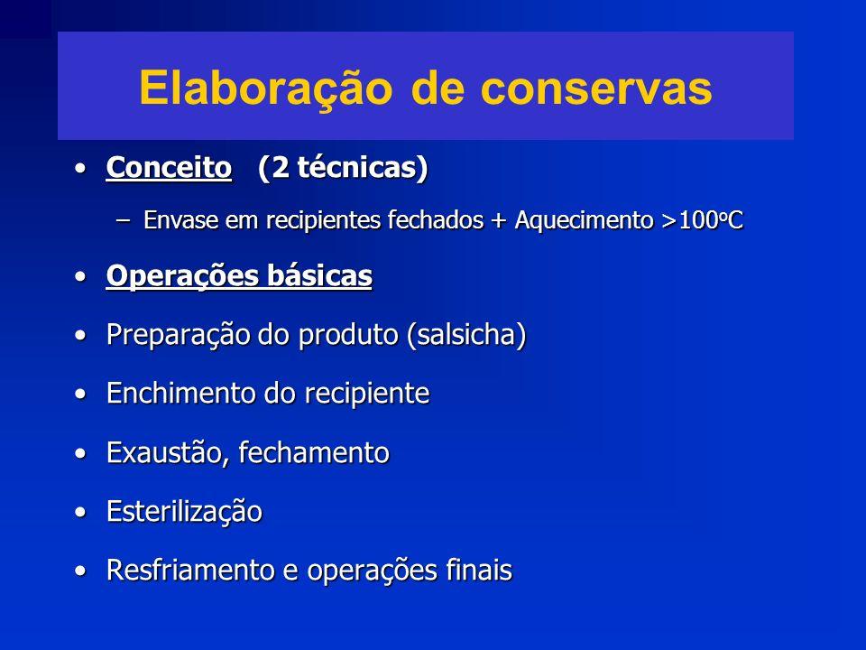 Elaboração de conservas Conceito (2 técnicas)Conceito (2 técnicas) –Envase em recipientes fechados + Aquecimento >100 o C Operações básicasOperações b