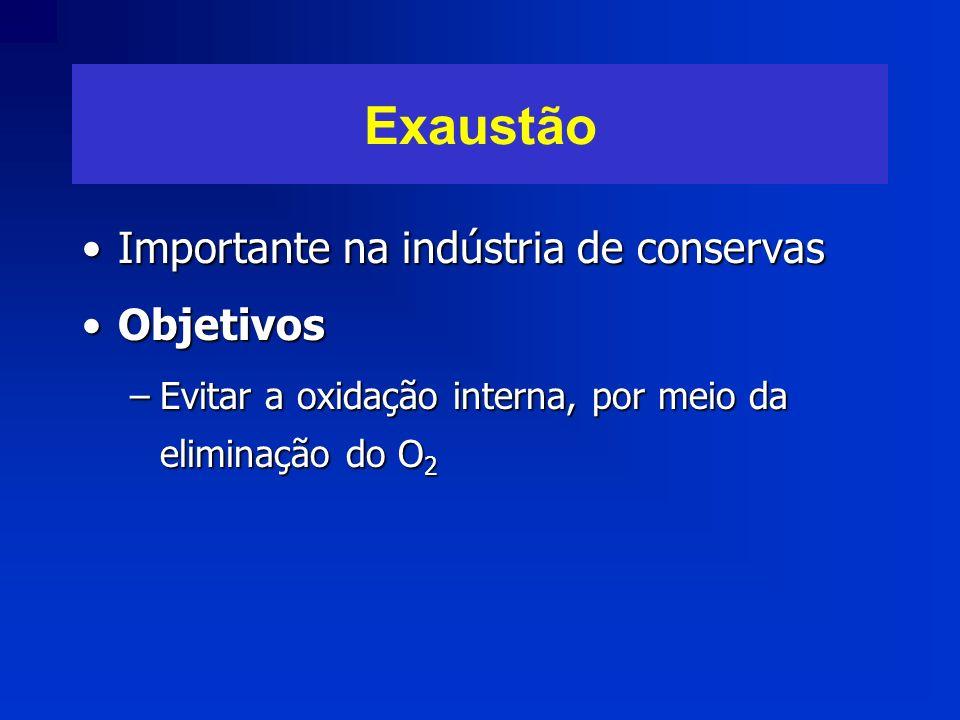 Exaustão Importante na indústria de conservasImportante na indústria de conservas ObjetivosObjetivos –Evitar a oxidação interna, por meio da eliminaçã