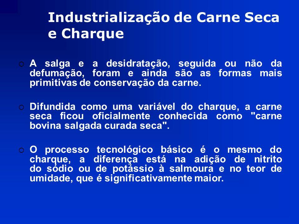 Industrialização de Carne Seca e Charque A salga e a desidratação, seguida ou não da defumação, foram e ainda são as formas mais primitivas de conserv