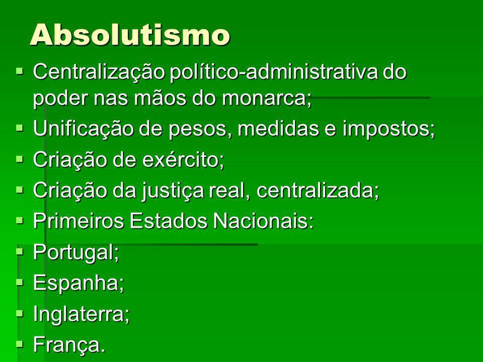 Absolutismo Centralização político-administrativa do poder nas mãos do monarca; Centralização político-administrativa do poder nas mãos do monarca; Un
