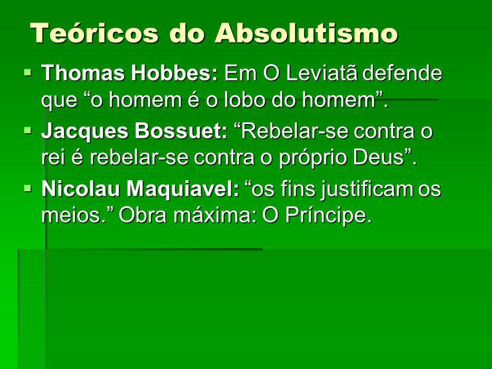Teóricos do Absolutismo Thomas Hobbes: Em O Leviatã defende que o homem é o lobo do homem.