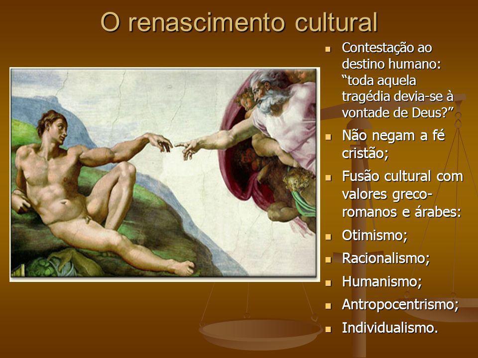 O renascimento cultural Contestação ao destino humano: toda aquela tragédia devia-se à vontade de Deus.