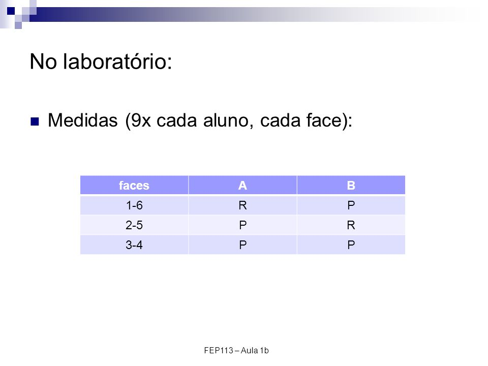 FEP113 – Aula 1b No laboratório: Medidas (9x cada aluno, cada face): facesAB 1-6RP 2-5PR 3-4PP