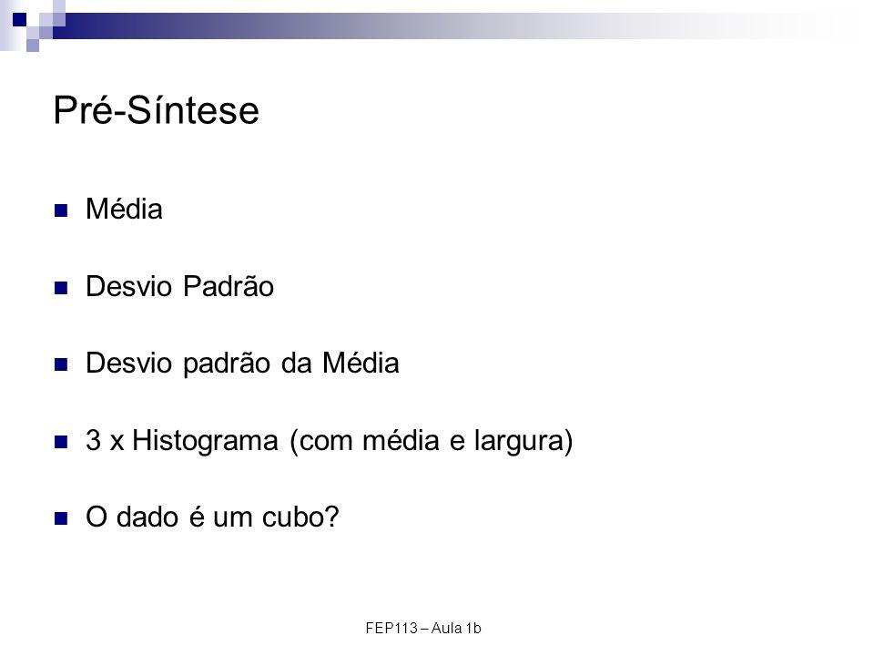 FEP113 – Aula 1b Pré-Síntese Média Desvio Padrão Desvio padrão da Média 3 x Histograma (com média e largura) O dado é um cubo?