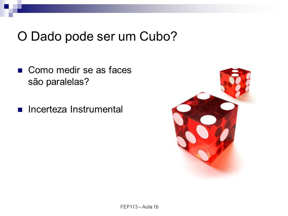FEP113 – Aula 1b O Dado pode ser um Cubo? Como medir se as faces são paralelas? Incerteza Instrumental
