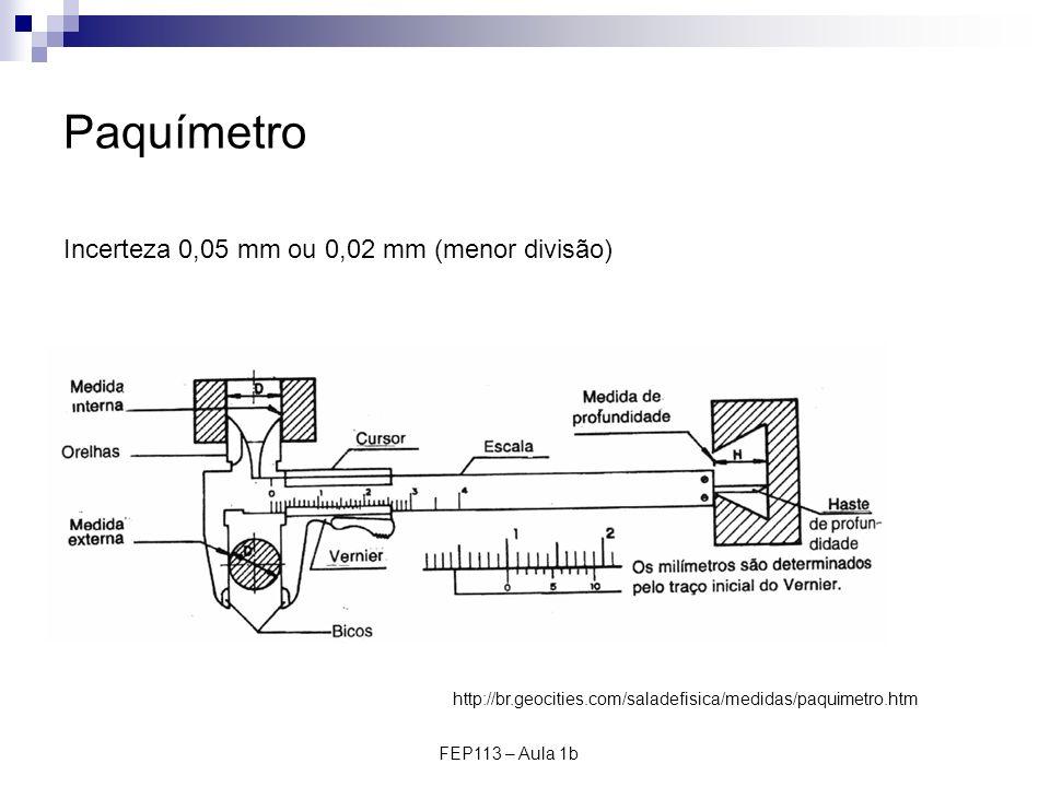 FEP113 – Aula 1b Paquímetro Incerteza 0,05 mm ou 0,02 mm (menor divisão) http://br.geocities.com/saladefisica/medidas/paquimetro.htm