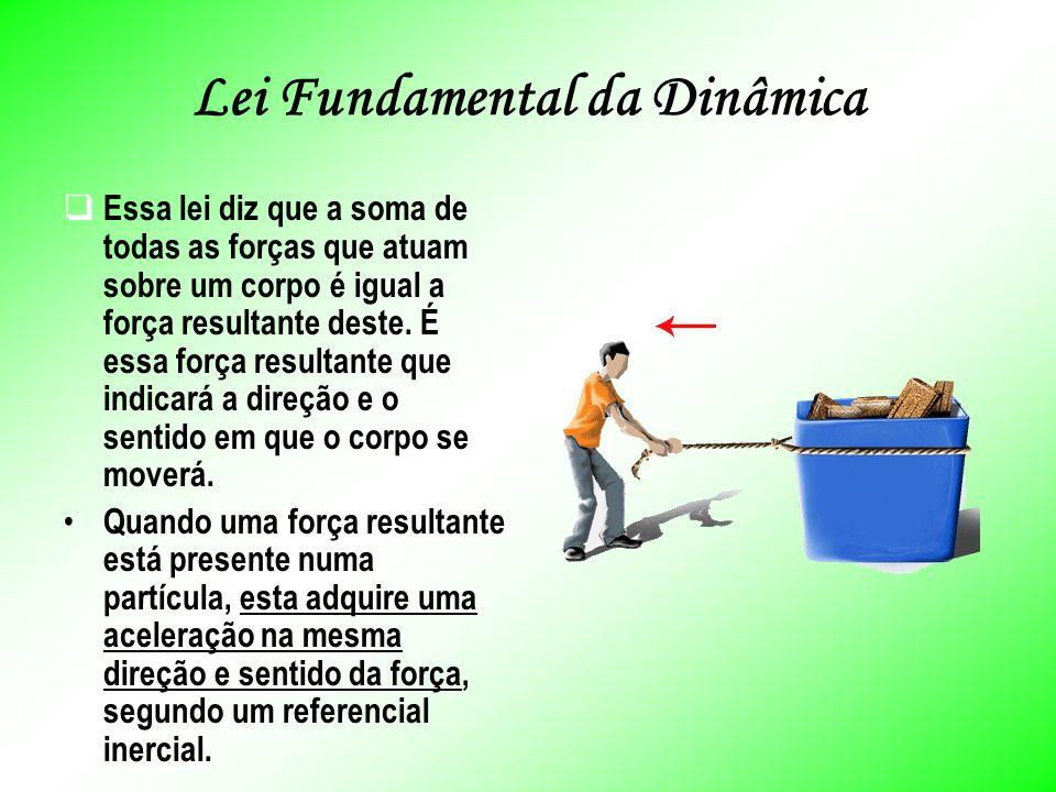 Lei Fundamental da Dinâmica Essa lei diz que a soma de todas as forças que atuam sobre um corpo é igual a força resultante deste.
