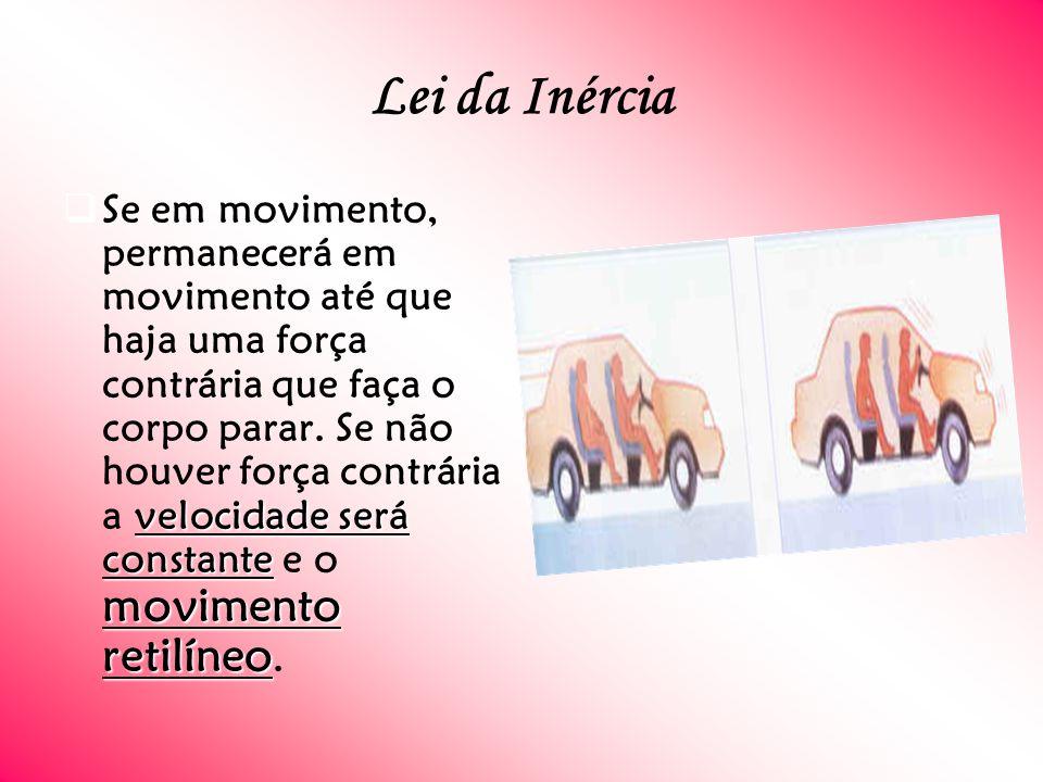 Lei da Inércia velocidade será constante movimento retilíneo Se em movimento, permanecerá em movimento até que haja uma força contrária que faça o corpo parar.
