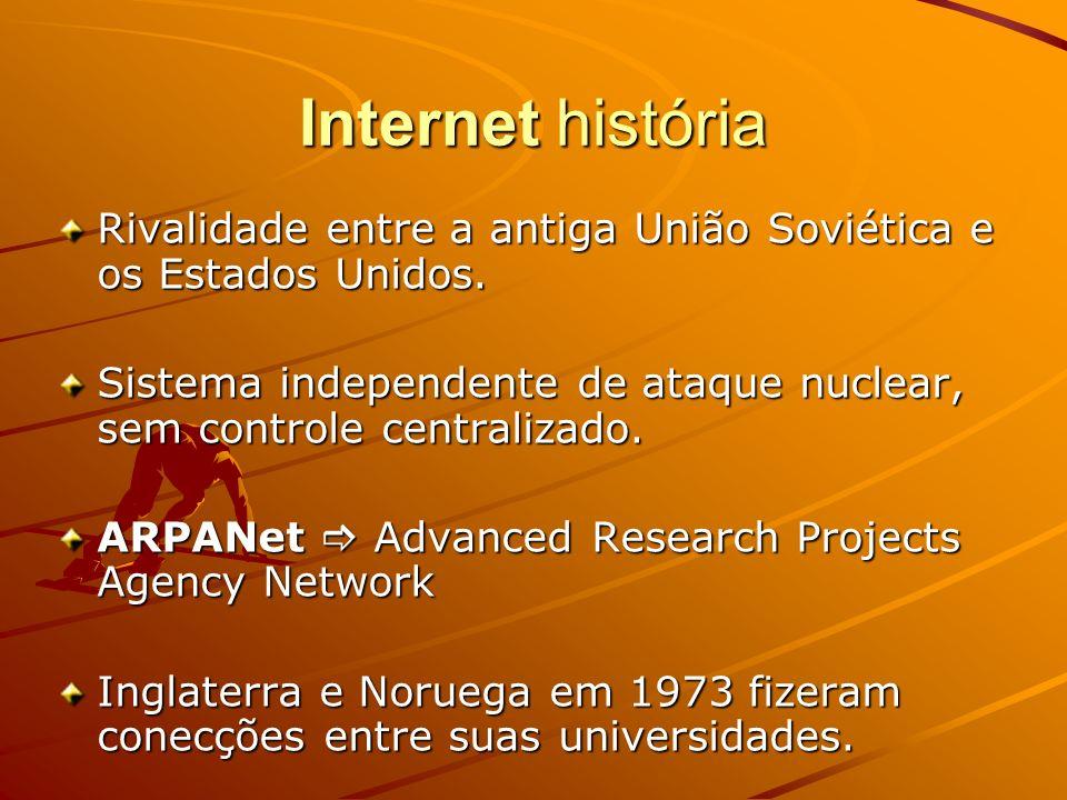 Internet história Rivalidade entre a antiga União Soviética e os Estados Unidos. Sistema independente de ataque nuclear, sem controle centralizado. AR