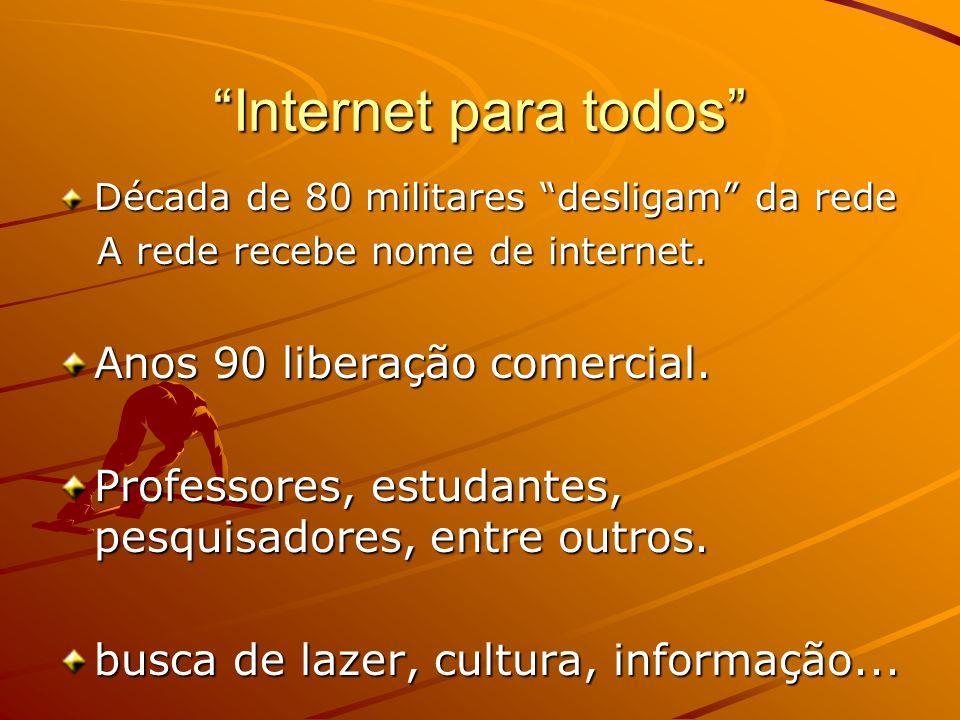 Internet para todos Década de 80 militares desligam da rede A rede recebe nome de internet. A rede recebe nome de internet. Anos 90 liberação comercia