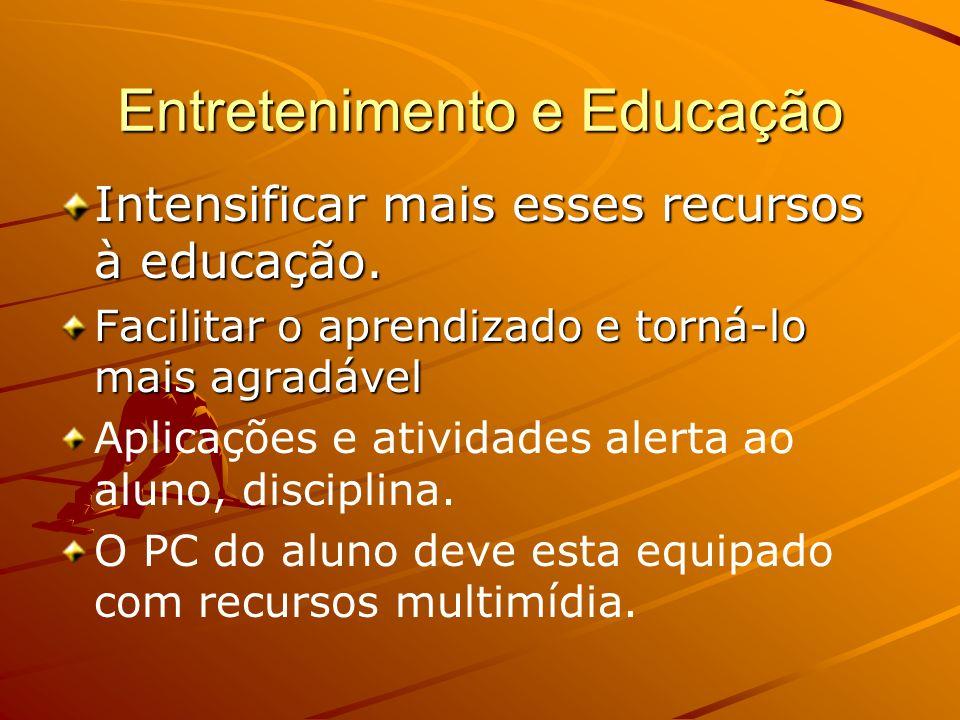 Entretenimento e Educação Intensificar mais esses recursos à educação. Facilitar o aprendizado e torná-lo mais agradável Aplicações e atividades alert