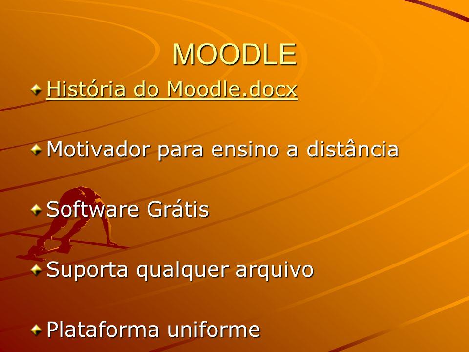 MOODLE História do Moodle.docx História do Moodle.docx Motivador para ensino a distância Software Grátis Suporta qualquer arquivo Plataforma uniforme