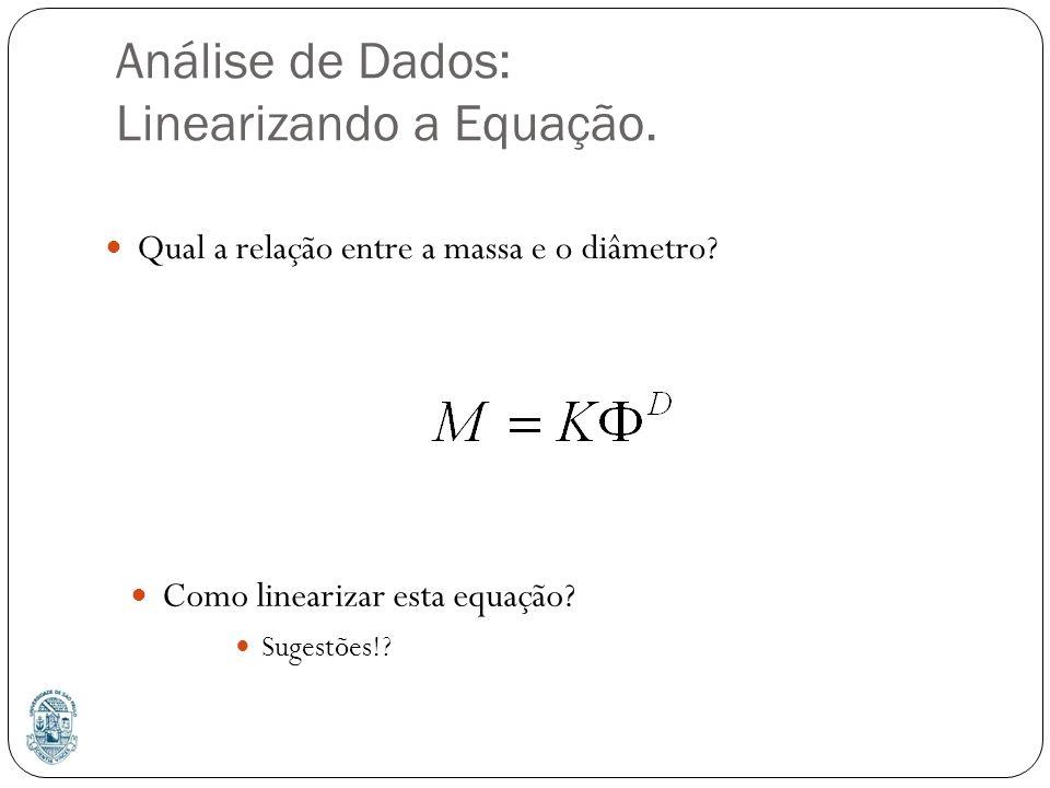 Análise de Dados: Linearizando a Equação. Como linearizar esta equação? Sugestões!? Qual a relação entre a massa e o diâmetro?